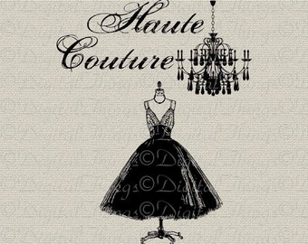 French Fashion Chandelier Haute Couture 1950 Dress Digital Download for Iron on Transfer Fabric Pillows Tea Towel DT950