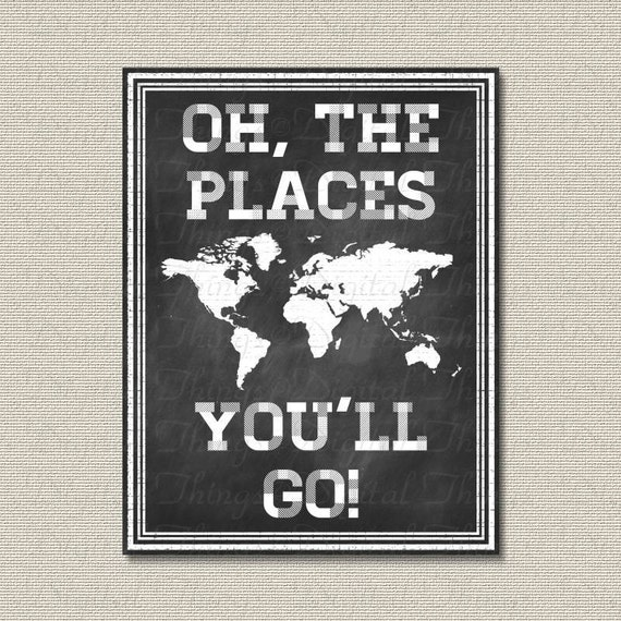 Chalkboard Art Oh The Places You Ll Go Dr Seuss By