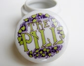 Vintage 60s The Pill Miniature Novelty White Porcelain Drugstore Apothecary Jar