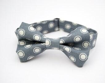 Grey Dot Bow Tie - Baby Toddler Child Boys - Wedding - photo prop