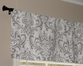 """Premier Prints Storm Gray and White Damask Valance 50"""" wide x 16"""" long Lined or Unlined"""