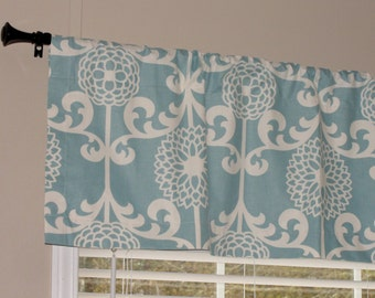 """Waverly Fun Floret Spa Blue Valance 50"""" wide x 16"""" long Lined with Cotton Muslin Light Blue and Cream Off White"""