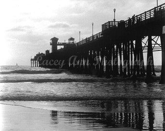 Pier at Dusk Black and White Ocean Digital Reproduction of original print
