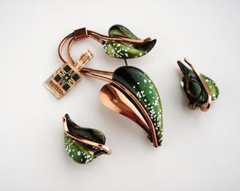 Vintage MATISSE RENOIR green Enameled Copper  Leaf Brooch/Pin  Earrings 1950s-60s
