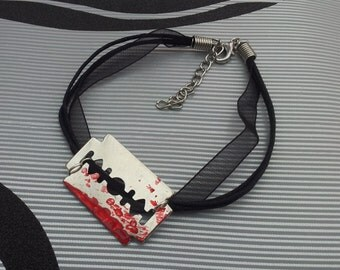 Handmade Blood Stained Razor Blade Charm on a Ribbon Cord Bracelet Gothic Steampunk Emo Punk