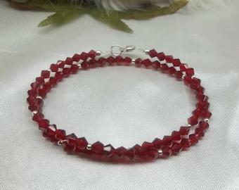 Red Crystal Bracelet Crystal Garnet Bracelet Garnet Double Wrap Bracelet Sterling Silver Bracelet or 14k Gold Filled Bracelet BuyAny3+1 Free
