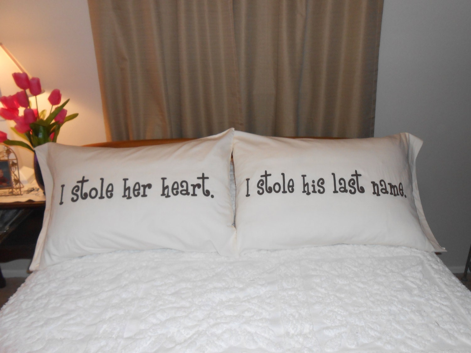 I stole her heart i stole his last name hand painted quotes for Bedroom gifts for her