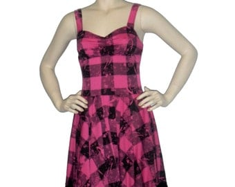 Retro inspired dress, rockabilly dress,  plaid pin up dress