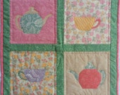 Teapots and Teacups Table Topper, Teapots and Teacups Quilt, Appliqued Quilt, Quilted Wall Hanging