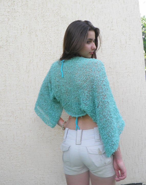 Bolero Shrug /Womens Hand Knit Shrug , transformer bolero, Mint Green Hand Knitted Shrug / Mint  top With Hood