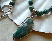 RESERVED FOR SUSIE Moss Agate Pendant Necklace - Forest Green Bali Silver One of a Kind Artisan Necklace