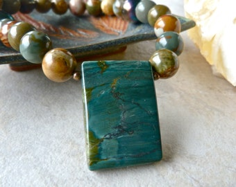 Earthy Gary Green Jasper - Oregon Owyhee Jasper Necklace - Vintage Copper - Green Artisan Necklace