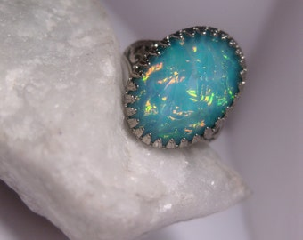 Aqua Ring -Mermaid Ring - Fantasy Ring - Underwater Look - Rainbow Shimmer - Adjustable - Christmas Gift