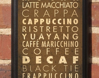 Coffee Styles Flavors List Wall Art Sign Plaque Gift Present Home Decor Kitchen Vintage Style Mocha Decaf Latte Cappuccino Cafe