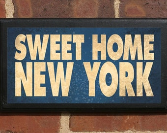 Sweet Home New York Wall Art Sign Plaque Gift Present Home Decor Custom Personalized Color Vintage Style Albany Buffalo Brooklyn Antique
