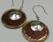 Mixed Metal Earrings - Silver Brass Copper Hoop Earrings - Disc Earrings