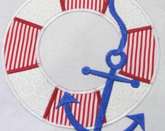 Life Bouy Machine Applique Embroidery Design - 4x4, 5x7 & 6x8