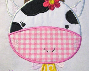 Farm Friends For Girls - Cow Face 01 Machine Applique Embroidery Design - Cow Face Applique Design - Applique Cow Face Design - Cute Cow