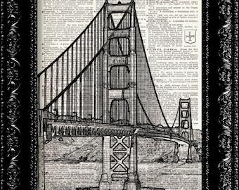 San Fransisco Golden Gate Bridge, Vintage Dictionary Print, Vintage Book Art, Upcycled Art
