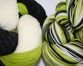 Chartreuse Zombie: Superwash Boot Strap BFL 3 color Intentional Flash Sock Yarn