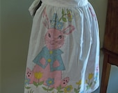 Handmade Vintage Easter Bunny Apron Pastel Colors and Delightful Print
