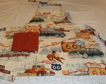 Route 66 Child or Kid Sized Apron Unisex for Boy or Girl in Wonderful Alexander Henry Historic Highway Fabric
