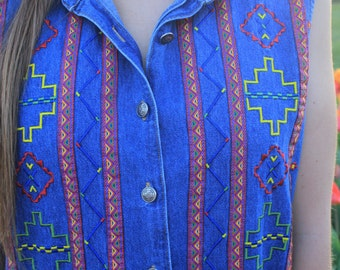 Panhandle Slim - Vintage Western Denim Sleeveless Vest Shirt, Southwest Summer Button Up, Small / Medium