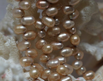 Freshwater pearl Champagne teadrdrop Full strand Jewelry supplies