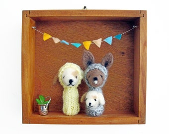 Nursery or Kid's Room Decor, Needle Felted Kangaroo and Puppy Finger Puppets in a Vintage Wooden Box, Eco Friendly Toy, Wall Hanging