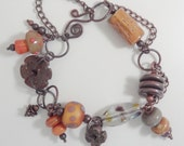 "Lampwork, copper and ceramic bracelet SRA ""Queen Mab"""