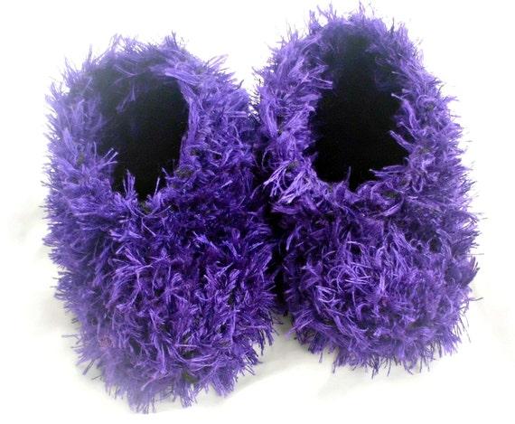 Womens Bedroom Slippers Fluffy Fuzzy Purple Hand Knit