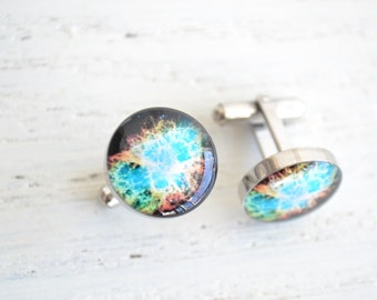 Crab nebula cufflinks, timeless mens jewelry keepsake gift, classic cuff link accessories (PC105)
