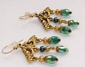 Green Crystal Earrings Gold CHANDELIER TEAL GREEN Crystals Earrings 14kt Golf Filled Earwires