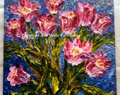 Ten Tulips - 12 x 12 abstract floral oil painting, giclee print