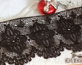 Vintage Style Lace Trim Cotton Lace Black Lace Trim for Costume Design