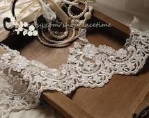 Ivory Alencon Lace Trim, Floral Bridal Lace Trim ,Wedding Veil Bridal Lace Trim, Wedding Fabric Lace