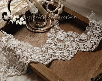 Ivory Alencon Lace Trim, Floral Bridal Lace Trim ,Wedding Veil Bridal Lace Trim, Wedding Fabric Lace