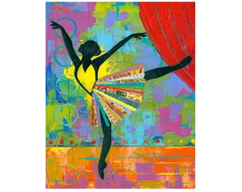Black Ballerina 8x10 PRINT Dancer impasto collage art modern dance  by Elizabeth Rosen