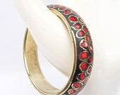 Vintage Wood and Brass Bangle Inlaid Coral, Vintage Brass Bracelet, UK Seller