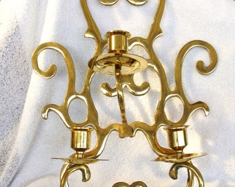 "vintage large brass 3 arm cande holder wall sconce 15"" high mid century"