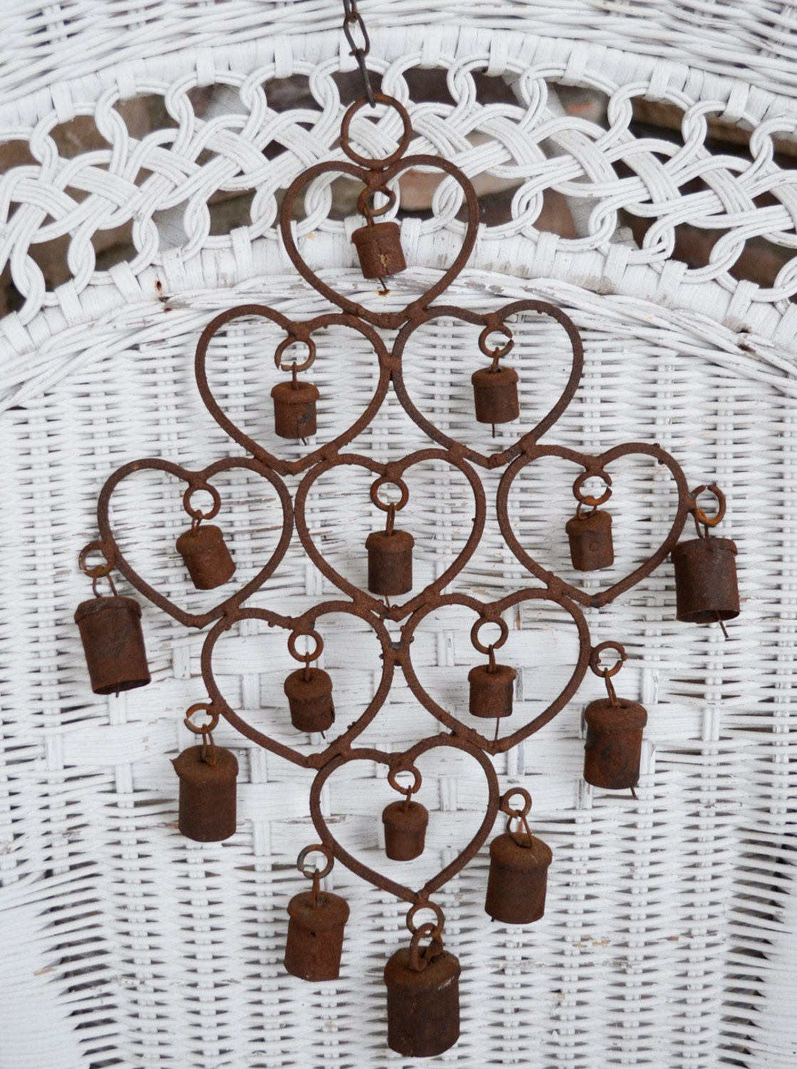 Vintage Rusty Rustic Metal Bell Windchime With Heart