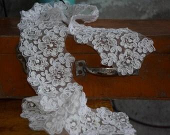 ivory Alencon Lace Trim, bridal alencon lace trim, cord lace trim, corded lace trim by the yard, ivory lace trim
