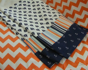 Baby bedding Dust Ruffle / Lined Crib Skirt 15-18 inch /  Nautical Navy Orange