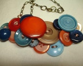 BAYOU SUNSET -Button Necklace - Vintage Buttons and more - Vintage Button Jewelry - Orange - Blue