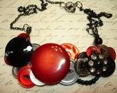 The RED BARONESS - Button Necklace - Vintage Button Jewelry - Red - BLACK - Gray - Rhinestone