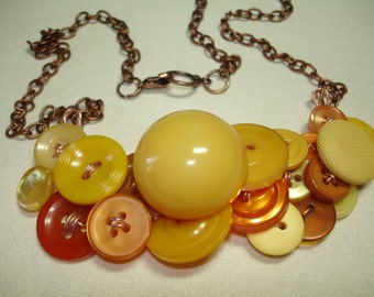 Vintage Button Jewelry -SOLAR FLAIR - Button Necklace - Vintage Buttons and more - Vintage Button Jewelry - Yellow - Amber - BAKELITE