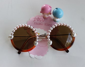 Sweet Lolita Round Tortoise Sunglasses with Ivory Hearts & Light Pink Pearls