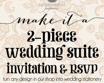 Wedding Invitation & Rsvp 2 Piece Suite. Turn ANY DIGIBUDDHA DESIGN into Wedding Stationery w/ Response Card