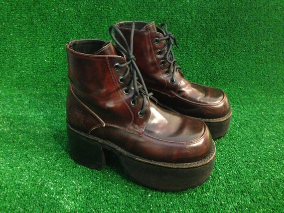 90s Muro Welt Burgundy Platform Chunky Heel Leather Boots Size 7