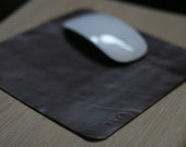 "MousePad - Personalized genuine Leather - monogram of ""your name"" -- made from upcycled genuine leather"
